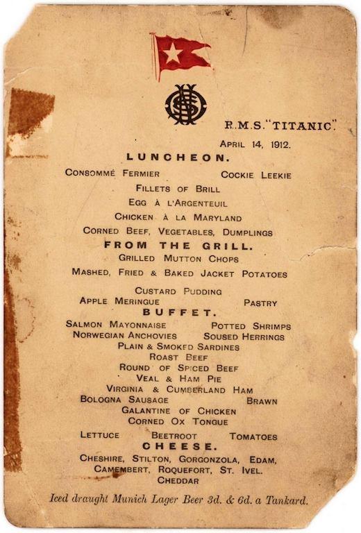 منوی ناهار کشتی تایتانیک فروخته شد